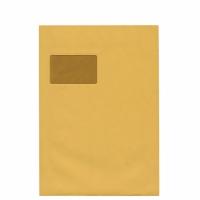 Versandtaschen C4, mit Fenster, Selbstklebung, 90g, braun, 100 Stück