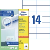 Universal-Etiketten Avery Zweckform 3653 105x42,3mm weiß 100 Blatt/1.400 Stück