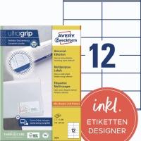 Universal-Etiketten Avery Zweckform 3424, (LxB)105x48mm, weiß, 100Bl/1200St