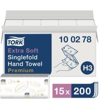 Falthandtuch Tork Premium 100278, 2-lagig, Tissue Plus, 15 Bündel á 200 Tücher