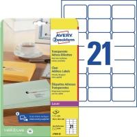 Adress-Etiketten Avery Zweckform L7560, 63,5 x 38,1mm, transparent, 25Bl/525St
