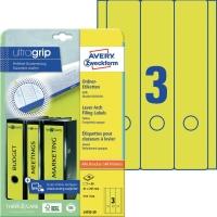 Ordner-Etiketten Avery Zweckform L4755, lang / breit, gelb, 20 Blatt/60 Stück
