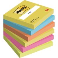 Haftnotizen Post-it 654TFEN, 76 x 76 mm, 6 Blöcke à 100 Blatt, farbig sortiert