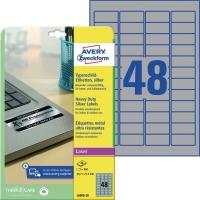 Typenschild-Etiketten Avery Zweckform L6009, (LxB)45,7x21,2mm, sil, 20Bl/960St