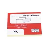 Karteikarten A6, liniert, m. grauer Kopflinie, gelb, 100 Stück