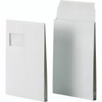 Faltentaschen Bong 14066, C4, 20mm-Falte, mit Fenster, HK, weiß, 200 Stück