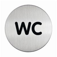 Piktogramm Durable 4907, WC, Durchmesser: 83mm, Klebepad, Alu, silber