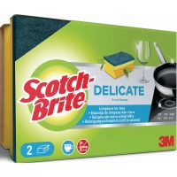 Reinigungsschwamm Scotch-Brite 5502/24, schonendes Vlies, gelb/blau, 2 Stück