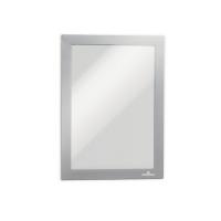 Infotasche Durable 4871, Duraframe, A5, selbstklebend, silber, 2 Stück