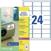 Kraftkleber-Etiketten Avery Zweckform L6141, (LxB)63,5 x 33,9mm, weiß 20Bl/480St