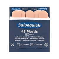 Pflasterstrips Salvequick 6036, wasserfest, Maße: 72x19 und 72x25mm, 45 Stück