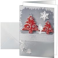 Weihnachtskarte Sigel DS454, Three Trees, A6, 10 Stück