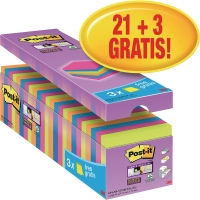Haftnotizen Post-it Super Sticky 654SE24P, 76x76 mm, 21x90Blatt, 3 Blöcke GRATIS