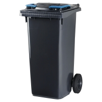 Müllcontainer Rossignol 10060, mit 2 Rädern, Inhalt: 120 Liter, grau / blau