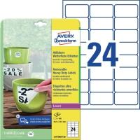 Folien-Etiketten Avery Zweckform L4773, 63,5x33,9mm, wetterfest, we, 20Bl/480St