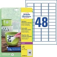 Folien-Etiketten Avery Zweckform L4778, 45,7x21,2mm, wetterfest, we, 20Bl/960St