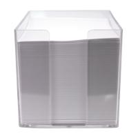 Notizzettel-Box Metzger 69020340, 700 Bl weiß, Maße: 95x95x95mm, transparent