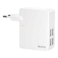 Reise Ladenetzteil Leitz 6219, für 4 USB Ports, 24 Watt, weiß