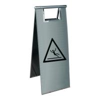Warnschild Viso PSG680X INOX, Vorsicht Rutschgefahr, Edelstahl, 60x23x2cm, grau