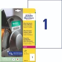 Folien-Etiketten Avery Zweckform L7917, Ultra Resistent (LxB)210x297mm weiß 10St