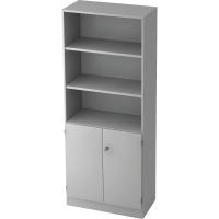Regal mit Holztüren, Maße: 200,4 x 80 x 42 cm, grau