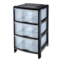 Schubladenschrank CEP, 3 Fächer, Maße: 67 x 39,5 x 38,5 cm, schwarz/transp
