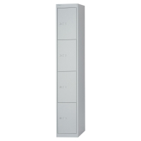 Schließfachschrank Bisley, 4 Fächer, Maße: 1.802 x 305 x 457mm, lichtgrau