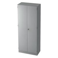 Schrank mit Holztüren, 4 Böden, Maße: 80x200,4x42cm, grau, Desktopservice