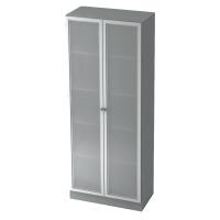 Schrank mit Glastüren, 4 Böden, Maße: 80x200,4x42cm, grau, Desktopservice