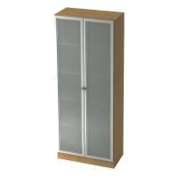 Schrank mit Glastüren, 4 Böden, Maße: 80x200,4x42cm, buche, Desktopservice