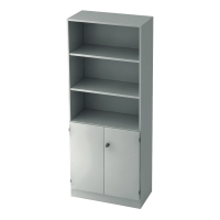 Regal mit kleinen Türen, 2 Böden, Maße: 80x200,4x42cm, weiß, Desktopservice