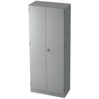 Schrank mit Holztüren, 4 Böden, Maße: 80x200,4x42cm, grau, Montageservice
