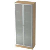 Schrank mit Glastüren, 4 Böden, Maße: 80x200,4x42cm, ahorn, Montageservice
