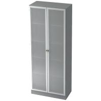 Schrank mit Glastüren, 4 Böden, Maße: 80x200,4x42cm, grau, Montageservice