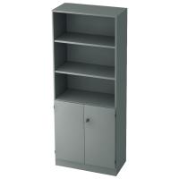 Regal mit kleinen Türen, 2 Böden, Maße: 80x200,4x42cm, grau, Montageservice