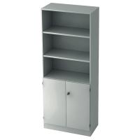 Regal mit kleinen Türen, 2 Böden, Maße: 80x200,4x42cm, weiß, Montageservice