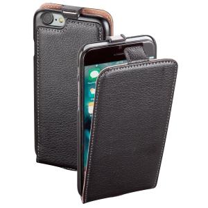 Ledertasche für iPhone 7 Hama 177800 FlapCase, schwarz