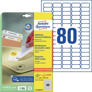 Etiketten Avery Zweckform 4732, 35,6x16,9mm (LxB), weiß, 2400 Stück