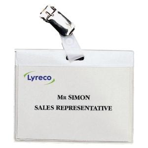 Namensschild Lyreco, 92 x 62mm, mit Clip, 30 Stück