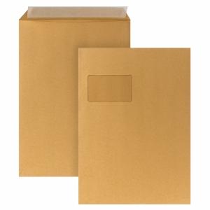Versandtaschen C4, mit Fenster, Haftklebung, 110g, braun, 250 Stück