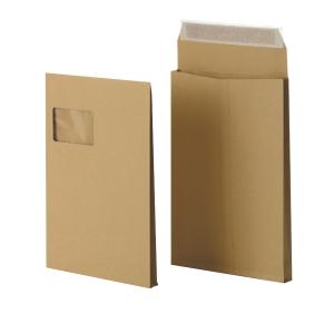 Faltentaschen Bong 8350023, C4, 20mm-Falte, mit Fenster, HK, braun, 100St