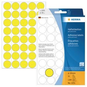 Markierungspunkte Herma 2251, Ø 19mm, gelb, 1280 Stück