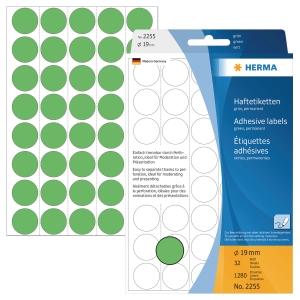 Markierungspunkte Herma 2255, Ø 19mm, grün, 1280 Stück