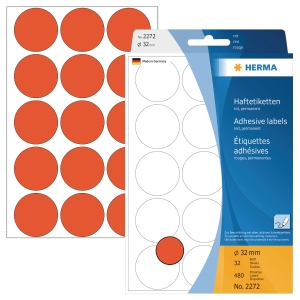 Markierungspunkte Herma 2272, Ø 32mm, rot, 480 Stück