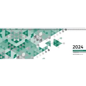 Tischquerkalender 2019 Zettler 126, 1 Woche / 2 Seiten, 42x15cm, grün