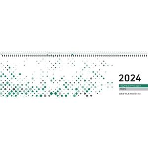 Tischquerkalender 2019 Zettler 130, 1 Woche / 2 Seiten, 31,5x10cm, grün