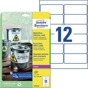 Folien-Etiketten Avery Zweckform L4776-20 99,1x42,3mm wei 20 Blatt/240 Stück