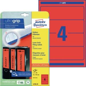 Ordner-Etiketten Avery Zweckform L4766-20 kurz / breit rot 20 Bogen/80 Stück