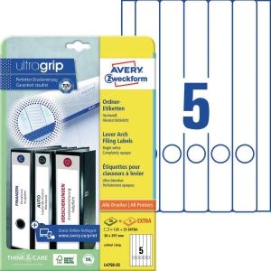 Ordner-Etiketten Avery Zweckform L4758, lang / schmal, weiß, 25 Blatt/150 Stück