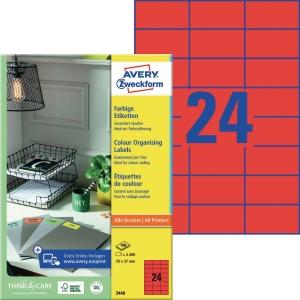 Farbige Etiketten Avery Zweckform 3448 70x37mm rot 100 Blatt/2.400 Stück